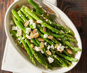 Honey Almond Asparagus with Feta
