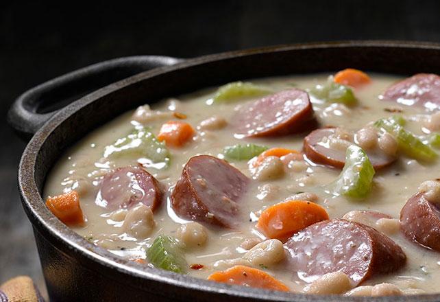 Rustic Bean & Smoked Sausage Soup Image 1