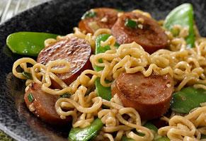 Sausage & Ramen Noodle Stir-Fry