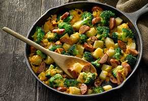 Cheesy Potatoes & Sausage Skillet