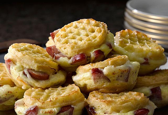 Mini Waffle-Sausage Stratas Image 1