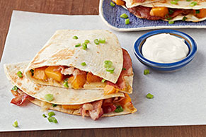 Spicy Pumpkin and Bacon Quesadillas