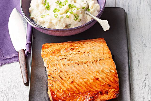 Honey-Dijon Salmon with Creamy Cauliflower Mash