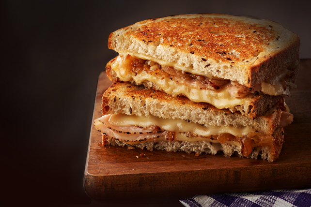 Grilled Swiss Cheese, Turkey and Caramelized Onion Sandwich Image 1