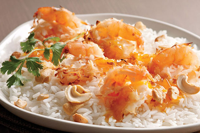 Coconut Shrimp over Rice with Mamalade-Mustard Sauce Image 1