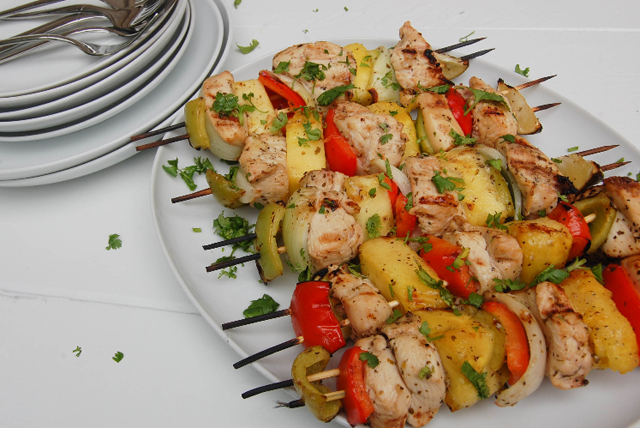 Hawaiian Cilantro-Lime Chicken Kabobs