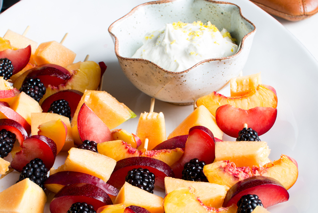 Fruit Kabobs with Lemon Fruit Dip