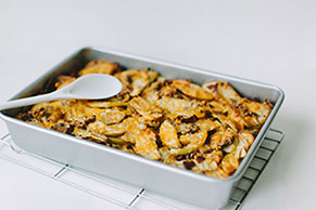 Sweet and Savory Apple-Bacon Bread Pudding