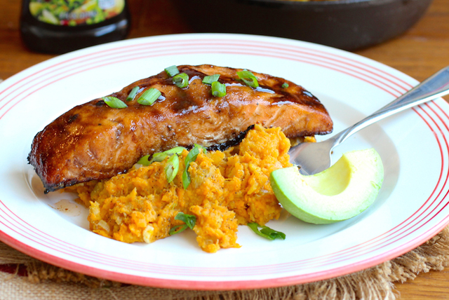 Sweet Balsamic Salmon with Sweet Potato and Plantain Mash Image 1