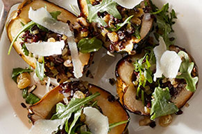Acorn Squash with Wild Rice and Arugula Stuffing