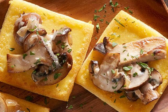 Fried Polenta Squares with Creamy Mushroom Ragu Image 1