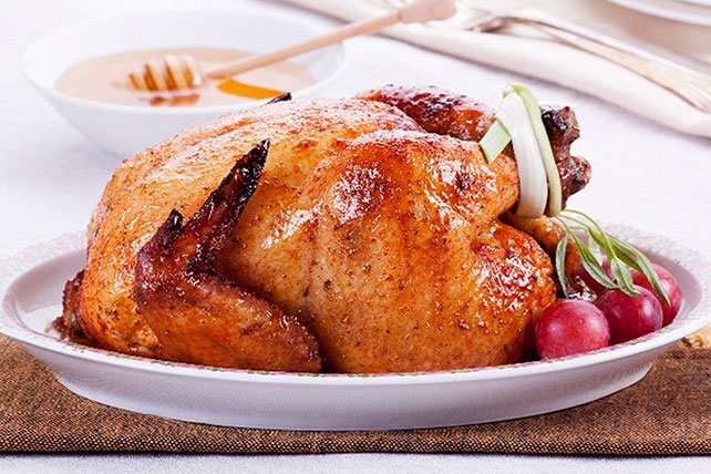Roast Chicken with Honey-Lemon Glaze