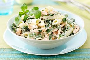 Penne Pasta with Salmon & Watercress