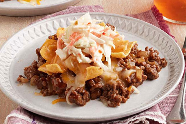 Barbecue Beef-Corn Chip Bake