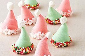 Galletas JELL-O en forma de gorra de Papá Noel