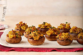 Sausage & Cornbread Stuffed Mushrooms Recipe
