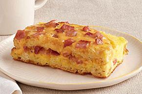Sencillos waffles con jamón y queso al horno