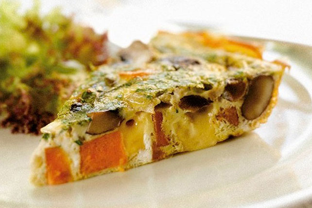 Cheesy Sweet Potato-Mushroom Frittata Image 1