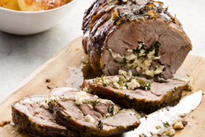 Roast Lamb Stuffed with Feta and Spinach