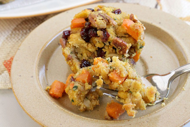 Sweet Potato-Pecan Cornbread Stuffing Cups Image 1