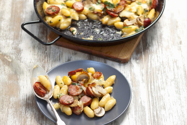 Gnocchi with Sausage, Mushrooms and Mozzarella Image 1
