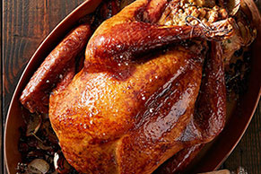 Roast Turkey with Cranberry and Pomegranate Glaze