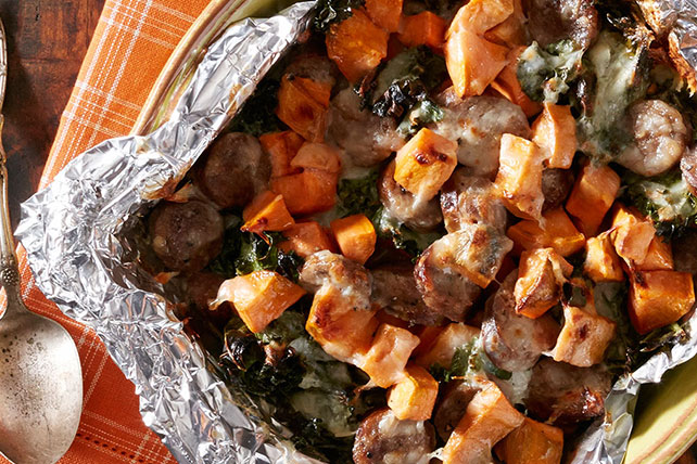 Sweet Potato, Kale and Sausage Bake with Cheese Image 1