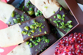 Chocolate-Dipped Pistachio Shortbread