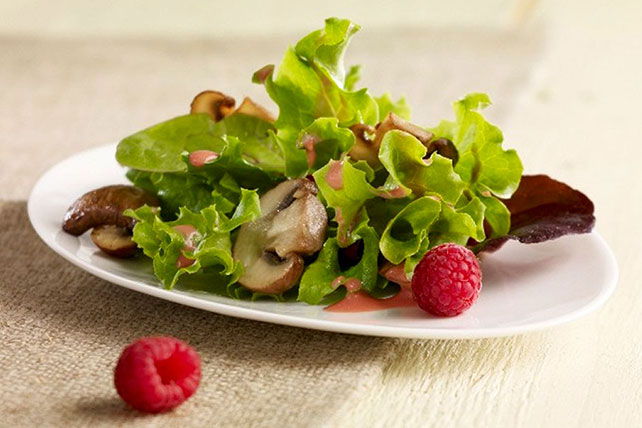 Salad with Mushrooms and Raspberry Dressing Image 1