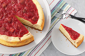 Strawberry-Rhubarb Swirl Cheesecake