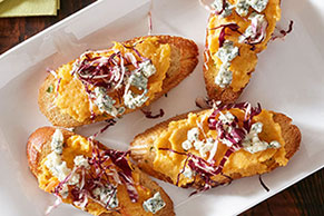 Butternut Crostini with Radicchio and Blue Cheese