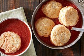 Cheddar Dumpling Tomato Soup