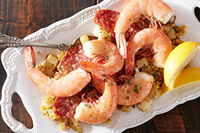 Shell on Shrimp with Corn, Potatoes and Chorizo
