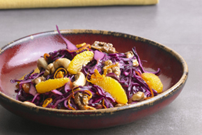 Red Cabbage Salad with Oranges, Cranberries and Nuts