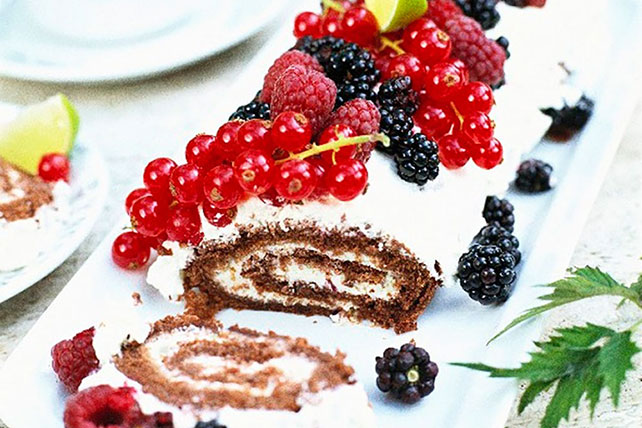 Creamy Chocolate Cake Roll with Berries Image 1