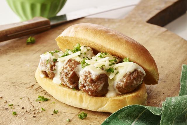 Creamy Alfredo Meatball Subs Image 1