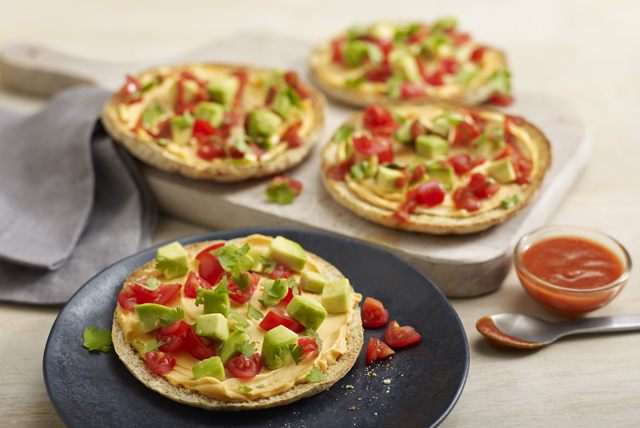 Mini Pitas with Creamy Cheddar, Avocado and Tomato Image 1