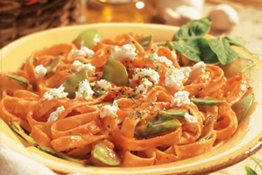 Fettuccine with Snow Peas and Goat Cheese