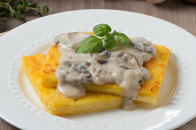 Grilled Polenta with CLASSICO Mushroom Alfredo Ragu Image 1