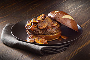 A.1. Burger with Saucy Caramelized Onions & Mushrooms