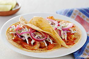 Chipotle BBQ Shrimp Tacos with Pickled Onions