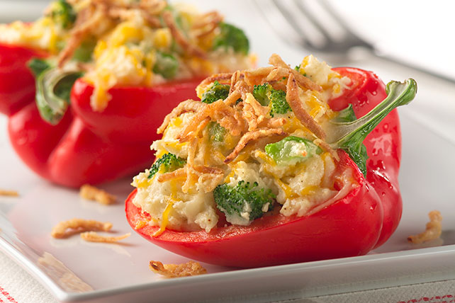 Potato- and Broccoli-Stuffed Peppers