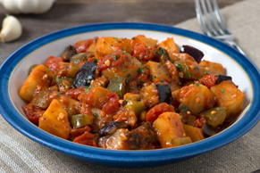 Sautéed Eggplant, Potatoes and Peppers