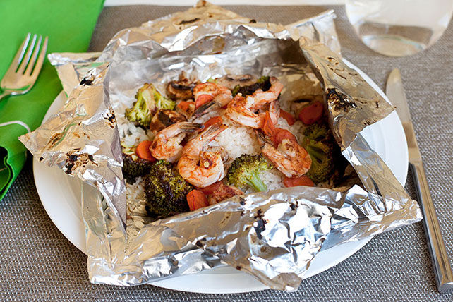 "Quick Shrimp and Rice ""Kabob"" Foil Packets Image 1"