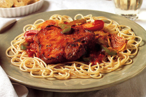 Braised Pork Chops with Spaghetti Arrabiata