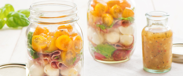 Layered Caprese Salad in a Jar