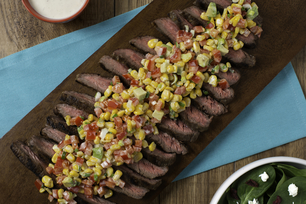 Ranch-Marinated Flank Steak with Sweet Corn Salsa