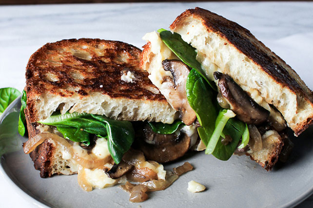 Grilled Cheese with Mushrooms and Spinach Image 1