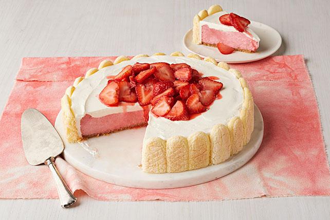 Cheesecake con sabor a pastel de fresas frescas Image 1
