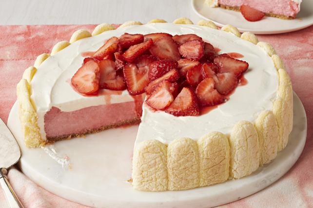 Gâteau au fromage aux sablés et aux fraises fraîches Image 1